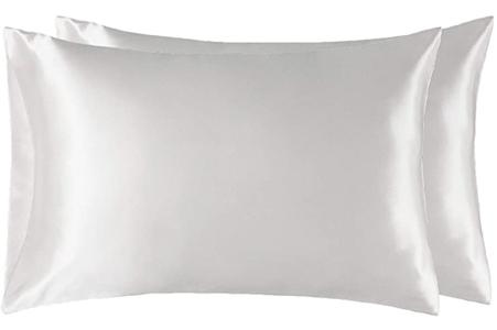 Funda de almohada de satén blanco